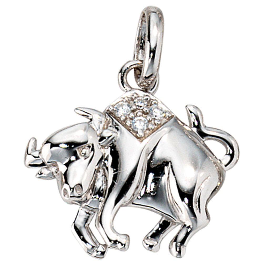 Anhänger Sternzeichen Stier 925 Silber mit Zirkonia Sternzeichenanhänger