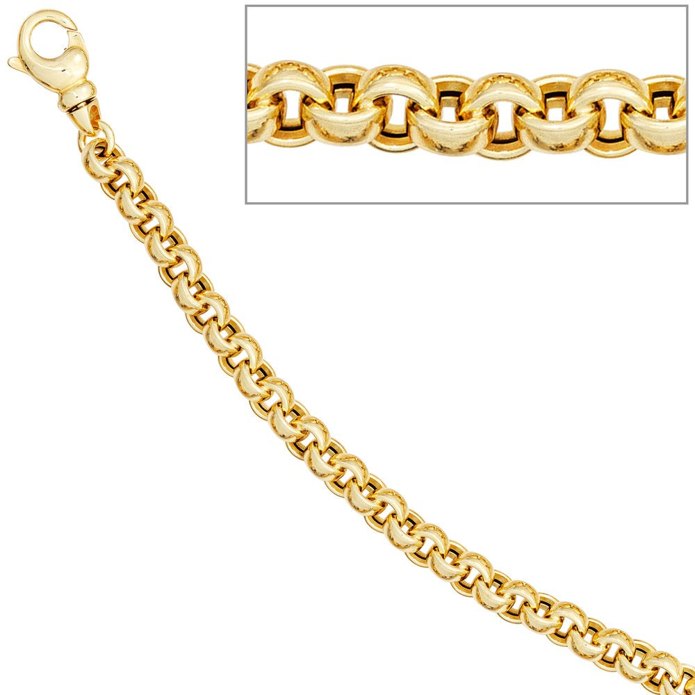 Erbsarmband 585 Gelbgold 19cm Armband Goldarmband Karabiner