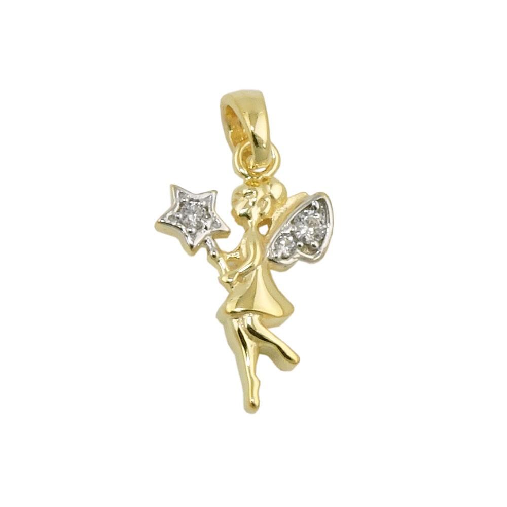 Anhänger Elfe mit Zirkonias 375 Gold