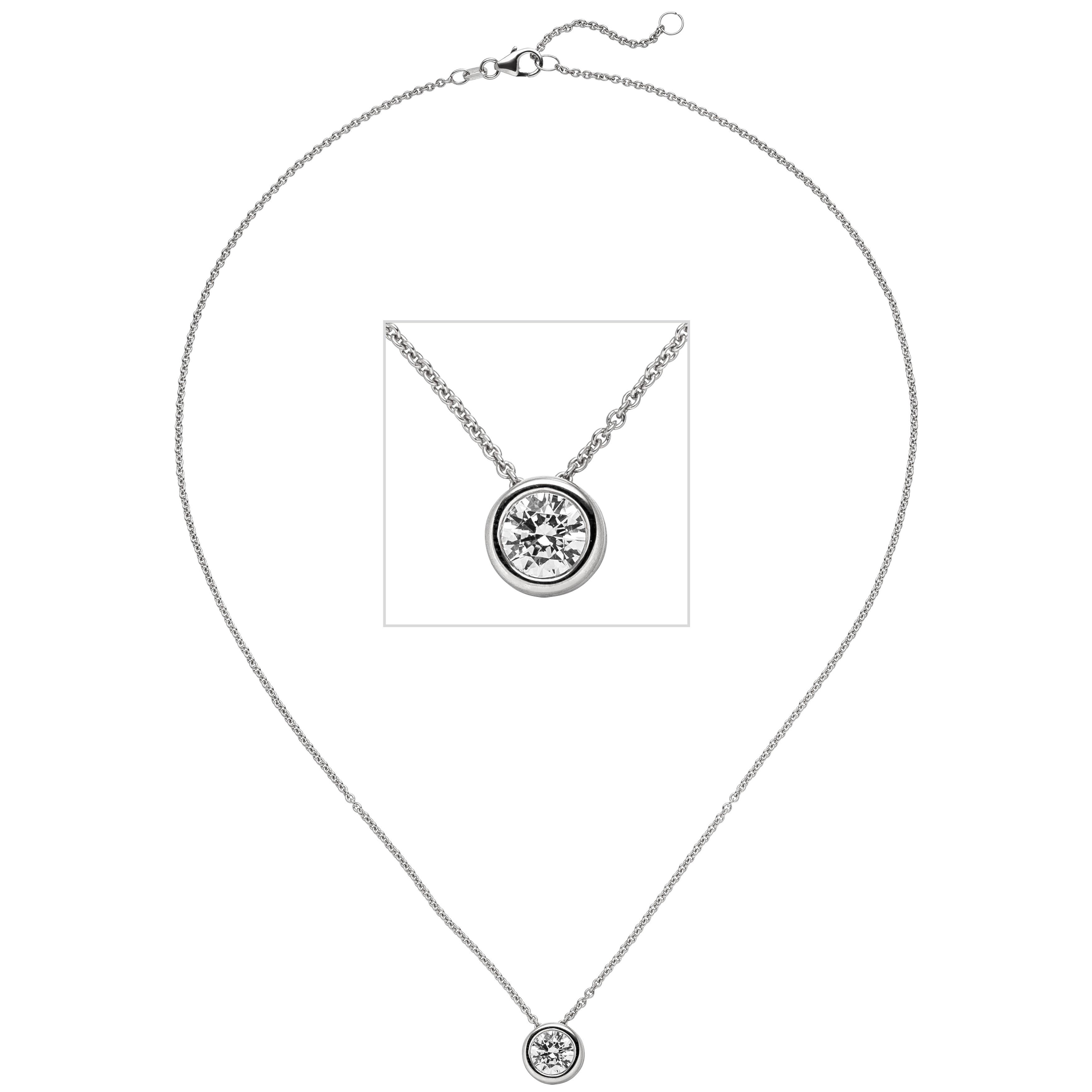 Colllier Kette mit Anhänger 585 Weißgold 1 Diamant Brillant 1,0 ct. 45cm