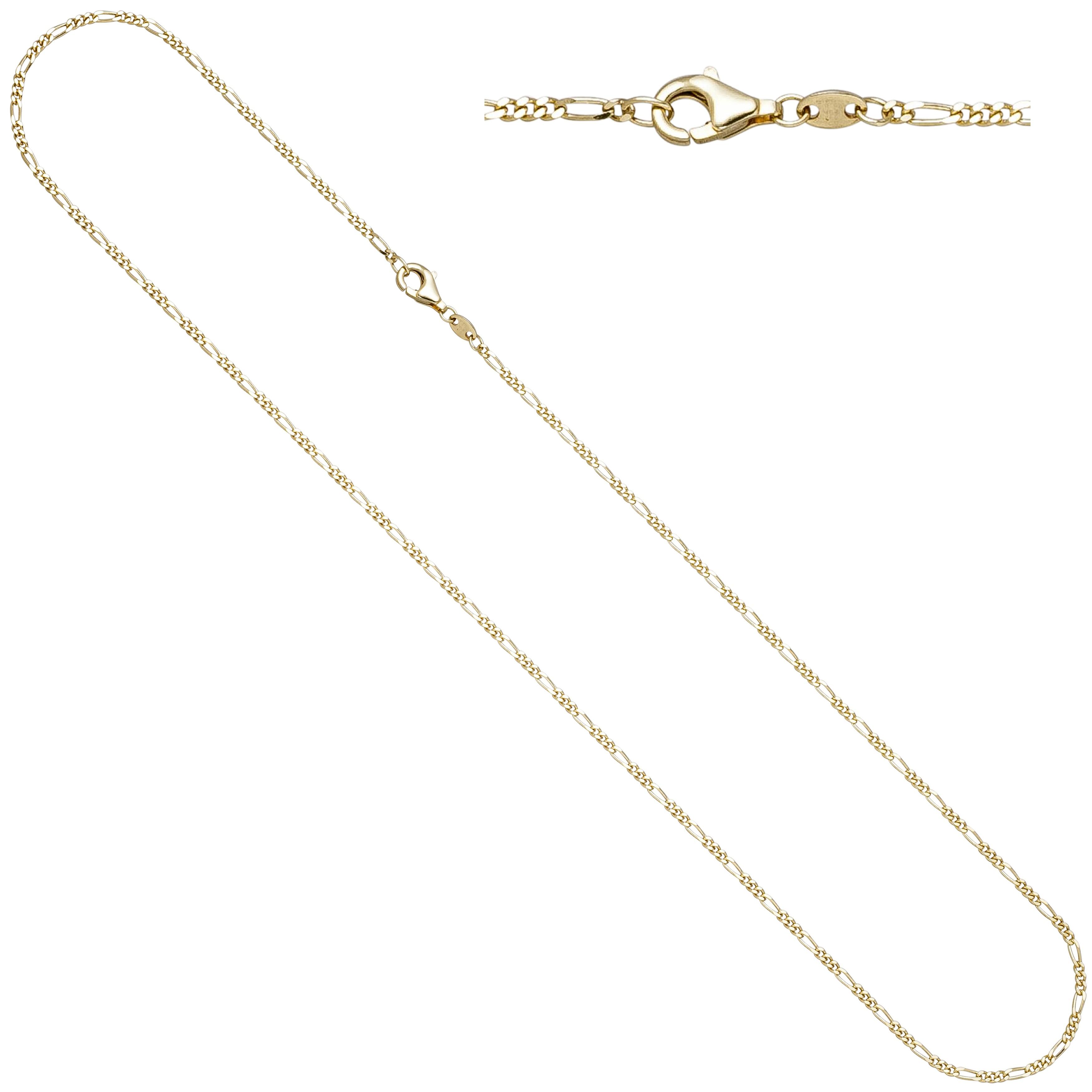 Figarokette 585 Gelbgold diamantiert 1,7mm 45cm