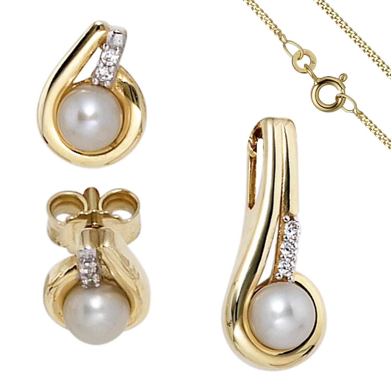 Schmuck-Set 333 Gelbgold Perlen Zirkonia Ohrringe und Kette 45cm