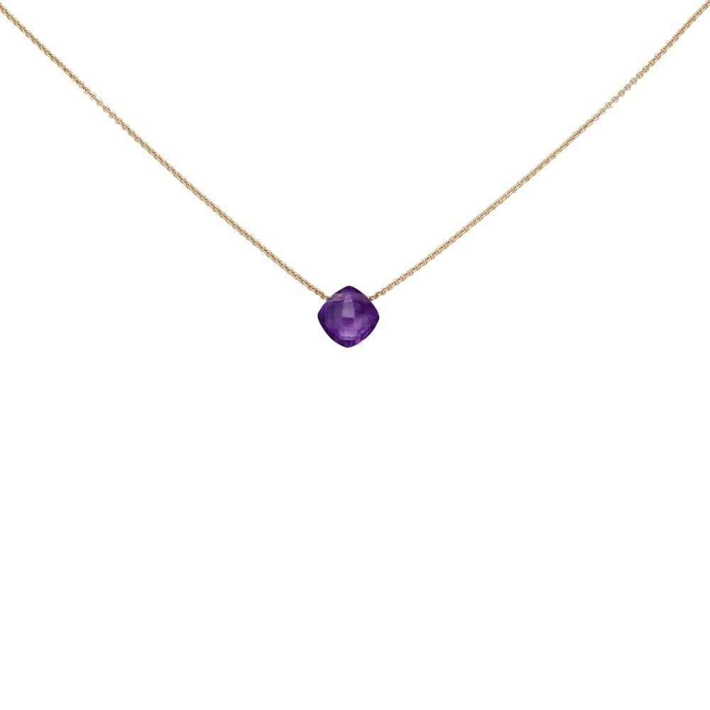 Collier 750 Rotgold 1 Amethyst lila violett 45cm