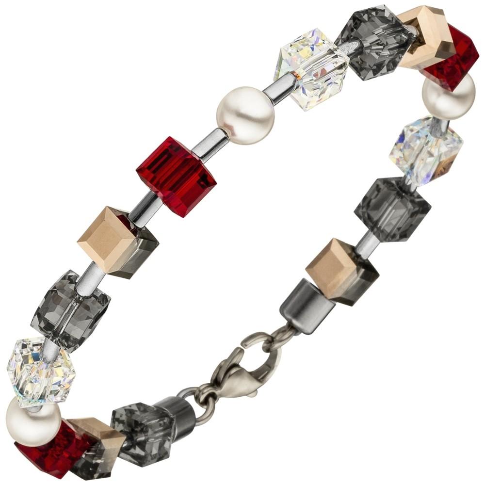 Armband SWAROVSKI® ELEMENTS mit Edelstahl 19cm
