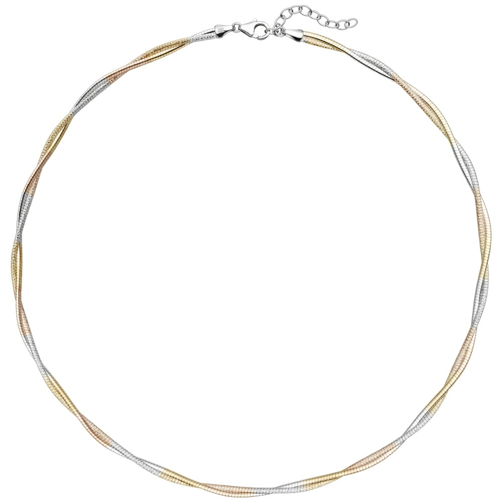 Collier Halskette 925 Sterlingsilber bicolor vergoldet 49cm Kette