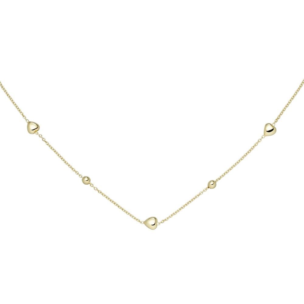 Collier Herz Kugel 925 Sterlingsilber vergoldet 45cm Silberkette Federrin