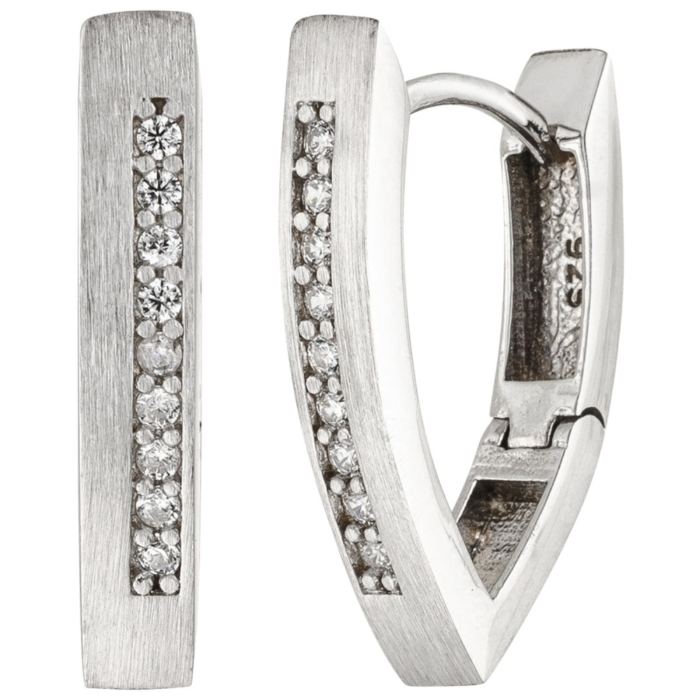 Creolen spitz 925 Silber matt 18 Zirkonia Ohrringe Silbercreolen Silberohrringe