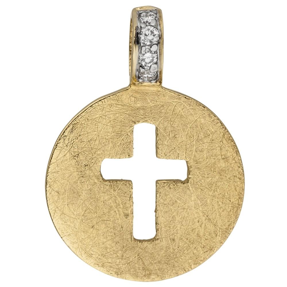 Anhänger Kreuz 585 Gelbgold eismatt 4 Diamanten Brillanten Kreuzanhänger