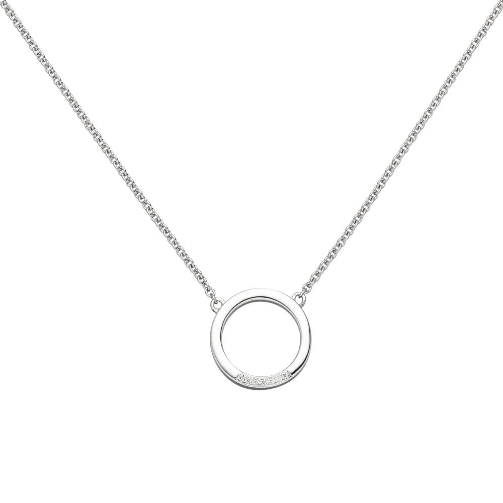Collier Halskette 585 Weißgold 7 Diamanten Brillanten 43cm Kette
