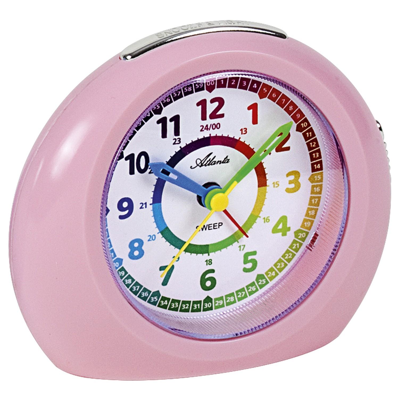 Wecker für Kinder Kinderwecker Quarz analog rosa mit Licht