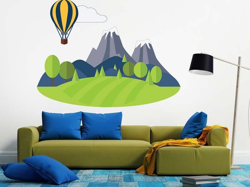Wandtattoo Ballon in den Bergen