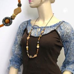 Collier Halskette bicolor-orange-hellbraun-ocker 95cm