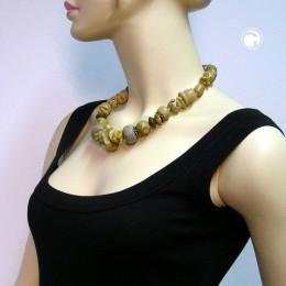 Collier Halskette oliv-schlamm marmoriert matt 51cm