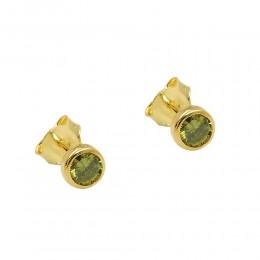 Ohrstecker Ohrring Zirkonia olivgrün 375 Gold