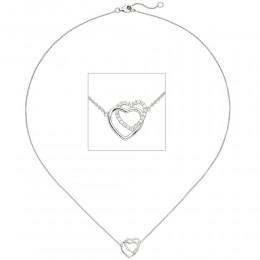 Collier Halskette Herzen 925 Sterling Silber 21 Zirkonia 45cm Kette