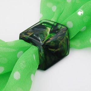 Tuchring Sechseck grün-marmoriert glänzend