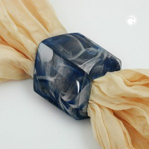 Tuchring Sechseck blau-marmoriert-glänzend