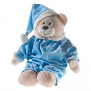 Kuscheltier Teddy Bär in blauem Schlafanzug 28cm