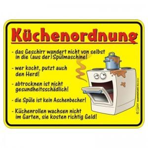 geprägtes Blechschild - Küchen Ordnung