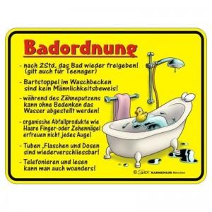 geprägtes Blechschild - Bad Ordnung