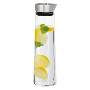 Wasserkaraffe ACQUA Edelstahl matt mit Glas kombiniert 1 Liter Inhalt