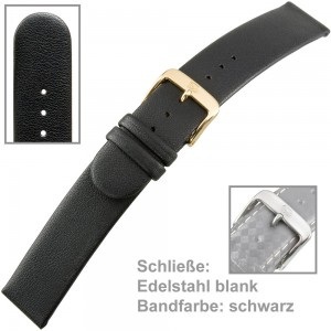 Uhrenarmband Ladies 18mm Softkalbleder schwarz