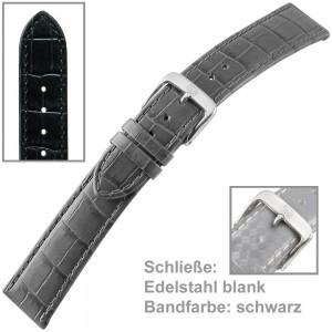 Uhrenarmband Ladies 20mm Louisiana Prägung auf Kalbleder schwarz