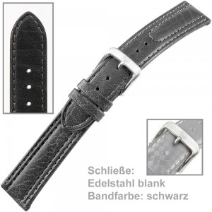 Uhrenarmband Men 18mm Kalbleder mit leichtem abgenähten Wulst