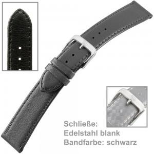 Uhrenarmband Men 20mm Kalbleder genäht schwarz