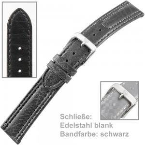 Uhrenarmband Men 20mm Kalbleder mit leichtem abgenähten Wulst schwarz