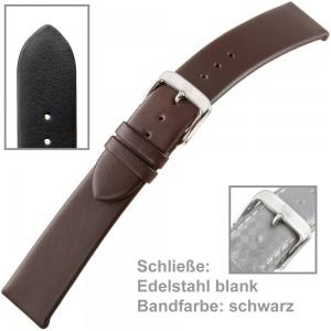 Uhrenarmband Men 22mm feines Kalbleder waterproof schwarz