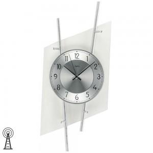 Funkwanduhr analog silbern modern Metall mit Glas