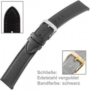 Uhrenarmband Ladies 18mm vergoldet schwarz