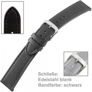 Uhrenarmband Ladies 18mm glänzend schwarz
