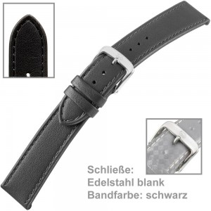 Uhrenarmband Ladies 20mm Kalbleder schwarz