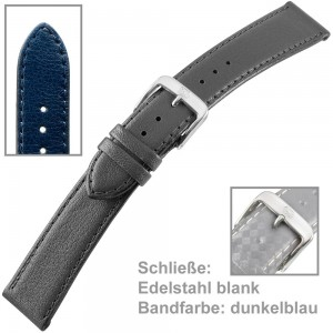 Uhrenarmband Men 18mm Kalbleder genäht dunkelblau