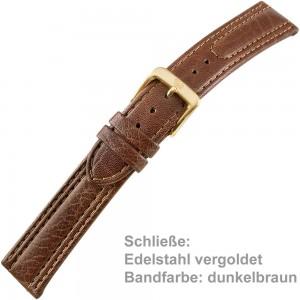 Uhrenarmband Men 20mm Kalbleder mit leichtem, abgenähten Wulst dunkelbraun