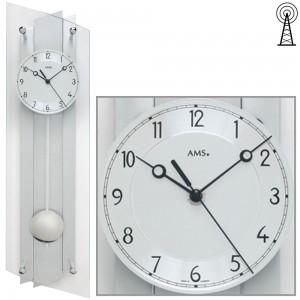 Funkwanduhr mit Pendel silbern Pendeluhr Glas Aluminium