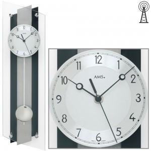Funkwanduhr mit Pendel schwarz Pendeluhr Glas Aluminium