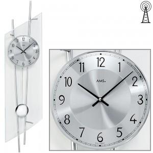 Funkwanduhr mit Pendel silbern modern Pendeluhr mit Glas