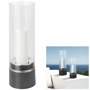 Windlicht PIEDRA Polystone mit Edelstahl matt kombiniert Glasaufsatz