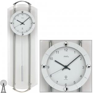Funkwanduhr mit Pendel silbern modern Pendeluhr mit Glas silber weiß