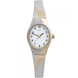 JOBO Damen Armbanduhr Quarz Analog Edelstahl bicolor vergoldet Damenuhr oval