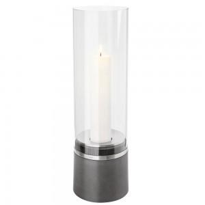 Windlicht PIEDRA mit Kerze Polystone mit Edelstahl matt Glasaufsatz