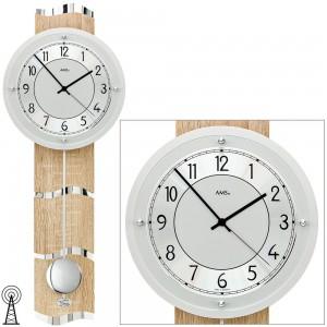 Funkwanduhr mit Pendel silbern Holz Sonoma Optik Pendeluhr
