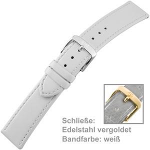 Uhrenarmband Ladies 20mm Kalbsleder weiß mit Schließe aus Edelstahl vergoldet