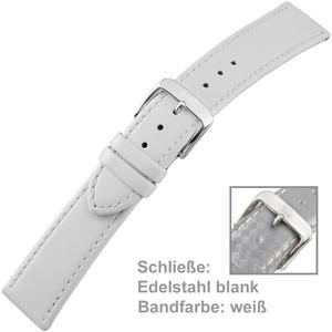 Uhrenarmband Ladies 20mm Kalbsleder weiß mit Schließe aus Edelstahl