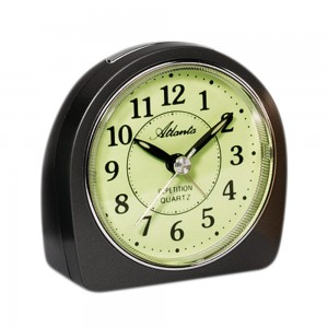 Wecker Quarz analog anthrazit leise ohne Ticken mit Licht Snooze