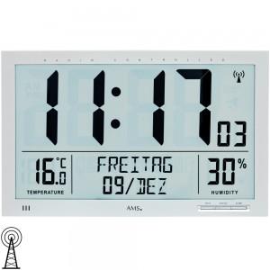 AMS Wanduhr Tischuhr Funk Funkwanduhr digital Datum Thermometer Wecker