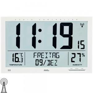 AMS Wanduhr Tischuhr Funk Funkwanduhr digital weiß Datum Thermometer Wecker